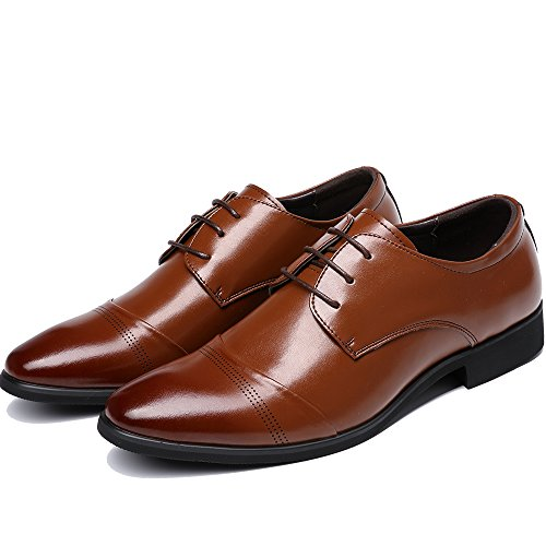 OUOUVALLEY Lace up Patent Leather Oxford Dress Shoes Formal Wedding Shoes 8808 (9.5 D(M) US, Brown)