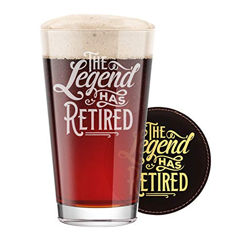 Bad Bananas The Legend Has Retired - Funny Retirement Gifts For Men - 16 oz Engraved Pint Beer Glass with Etched Coaster - Retiring Gift Present for Men Women Boss Coworker
