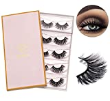 DYSILK 5 Pairs 6D Mink Eyelashes Faux Dramatic Wispy Fluffy False Eyelashes Long Extension Makeup Handmade Fake Eyelashes Natural Cross Volume Reusable Eyelashes Without Glue |003-15.5mm