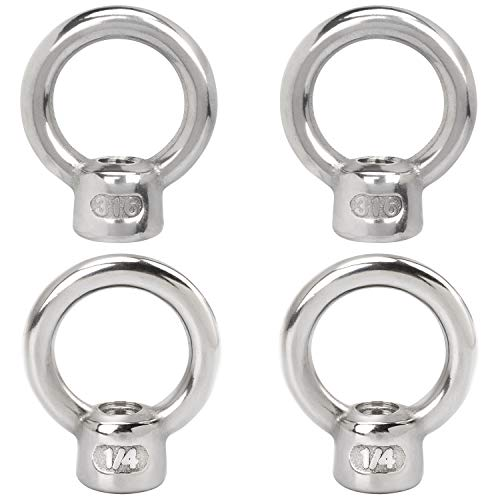 PAGOW 4 Pieces Stainless Steel 316 Lifting Eye Nut, 1/4