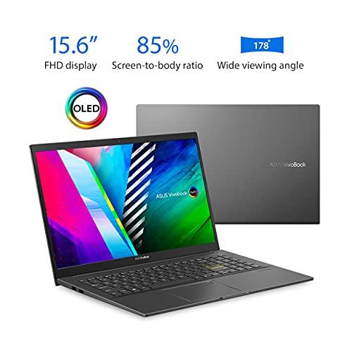 ASUS VivoBook 15 OLED K513 Thin & Light Laptop, 15.6 OLED Display, Intel i5-1135G7 CPU, NVIDIA GeForce MX350 GPU, 8GB RAM, 512GB PCIe SSD, Fingerprint Reader, Windows 10 Home, Indie Black, K513EQ-PB56