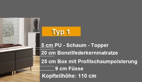 Wohnen-Luxus Boxspringbett 180x200 mit Chromleisten Hotelbett Doppelbett Polsterbett Ehebett amerikanisches Bett Chrom Modell Berlin Typ 1 (180x200)