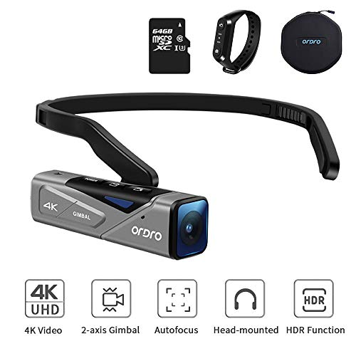 4K Camcorder Video Camera, ORDRO EP7 Wearable 4K Mini Camcorder, Ultra HD 4K 60FPS Video Camera with Gimball Image Stabilization, Auto-Focus and Remote Control (with 64GB Micro SD Card)