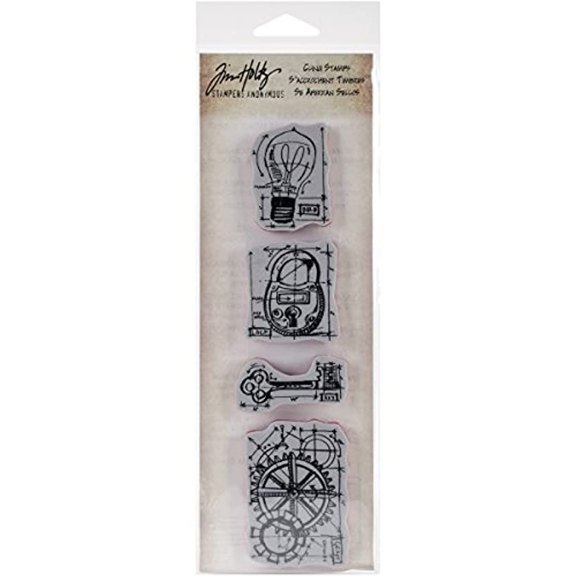 Stampers Anonymous Tim Holtz Mini Blueprints Strip Cling Rubber Stamps, 3