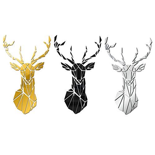 Milageto - Juego de 3 adhesivos decorativos para pared, diseño de ciervo