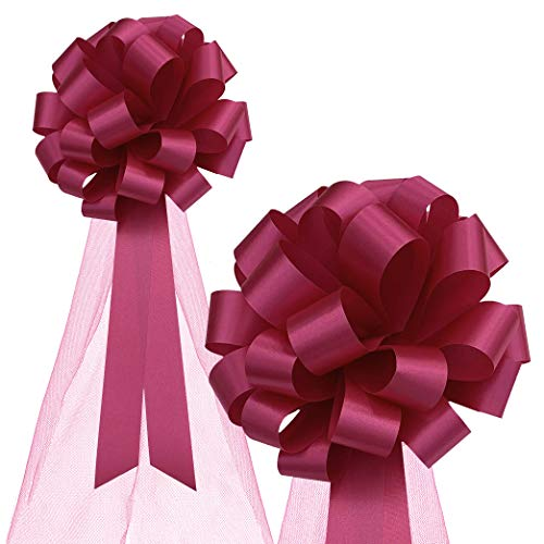 """Hot Pink Fuchsia Wedding Pull Bows with Tulle Tails - 8"""" Wide, Set of 6"""