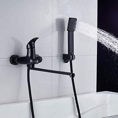Grifo de cocina Grifo de bañera montado en la pared Grifo de bañera giratorio negro de nariz larga caliente y frío con ducha de mano Grifo de cocina