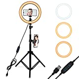 Selfie Ring Light with Adjustable Tripod Stand, 3 Modes 10 Brightness Levels, LED Ring Light with Phone Holder for Vlogs, Live Stream, Phone,YouTube,Self-Portrait Shooting (12 inch)