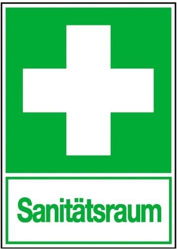 0259. Rettungsschild - nachleuchtend Erste Hilfe Sanitätsraum Everglow HI 150 Folie, selbstklebend Größe 20,00 cm x 30,00 cm