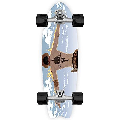 Cnlololog Monopatín de inclinación única Portgas · D · Ace Tail Fish Skateboard ONE PIECE Tabla de peces de anime Tabla de surf de tierra Brush The Street Monopatín de inclinación única Tabla de peces