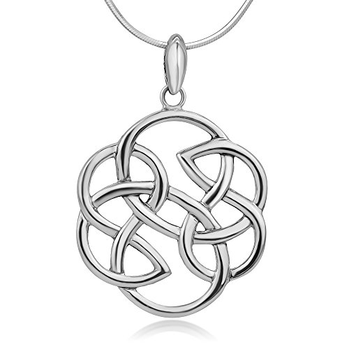 Chuvora 925 Sterling Silver Open Celtic Knot Infinity Endless Love Round Shaped Pendant Necklace 18""