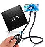 LEX STORE Soporte móvil, Brazo Flexible de Cuello de Cisne, Soporte Universal para Smartphone, Soporte para la Cama, para el Coche, para Selfie con Controlador bluetooht