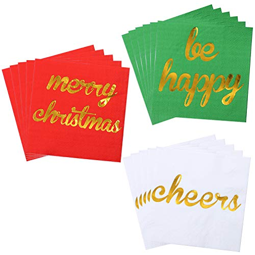 Aneco 120 Pack Christmas Cocktail Napkins with Gold Foil Design Beverage Cocktail Napkins Red, Green and White Paper Napkins for Christmas Holidays Dinner Party Supplies with 2 Layers, 5 by 5 Inches