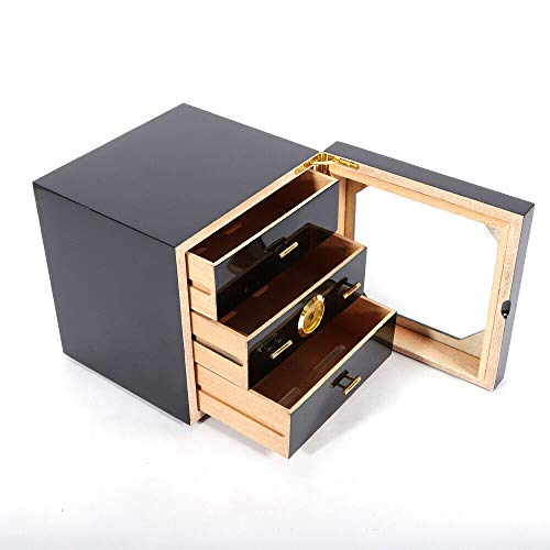 Black Ci-ga-r Humidor with Accurate Hygrometer and Humidifier Cedar Wood Ci-ga-r Humidor Box Holds with Three Layer Removable Drawers Large Capacity Ci-ga-r Humidor Cabinet (50-75 Cigars)