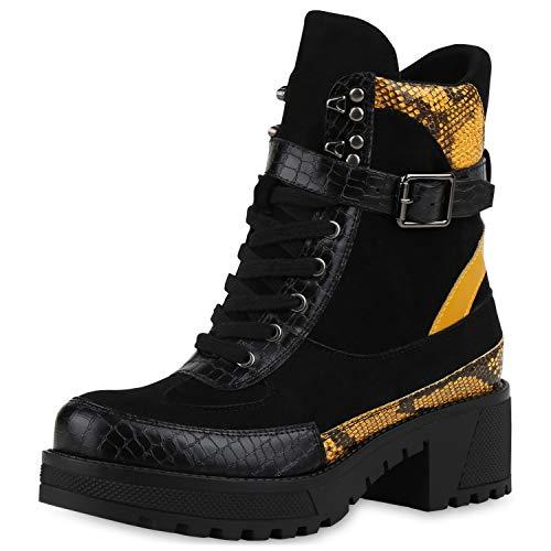 SCARPE VITA Damen Stiefeletten Leicht Gefütterte Animal Print Leder-Optik Schuhe Plateau Stiefel Schnallen Boots 185826 Schwarz Gelb Snake 37