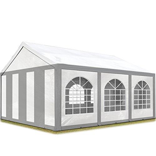 TOOLPORT Hochwertiges Partyzelt 4x6 m Pavillon Zelt 240g/m² PE Plane Gartenzelt Festzelt Bierzelt Wasserdicht grau-weiß