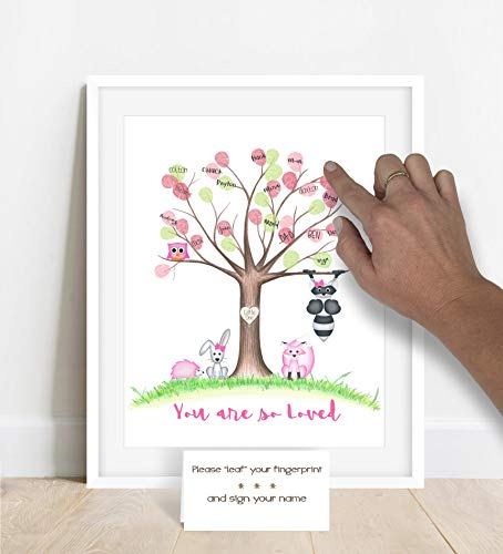 Customizable woodland animal fingerprint tree for a girl's woodland animal themed baby shower, unframed, girls baby shower ideas