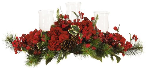 Nearly Natural 4659 Hydrangea Holiday Candleabrum, Red/Green