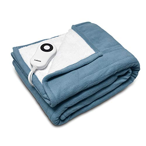 Lukasa Heated Throw Blanket Reversible Sherpa/Fleece...