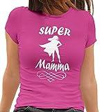 MAM0011 T-Shirt Maglietta Donna Super Mamma 3 Idea Regalo Festa della Mamma (M, Fuxia)