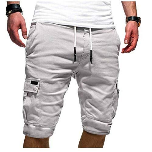 Uomini Pantaloncini Casual Pokects Solido Elastico Sport Cargo Combattimento Militare Allenamento Palestra Estate Mens Pantaloni Nuovo bianco L