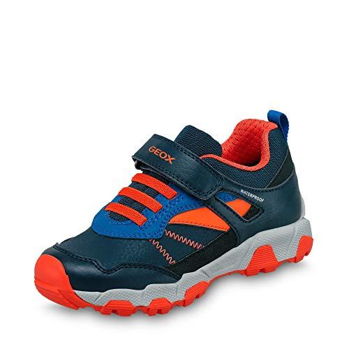 Geox Jungen Sneaker MAGNETAR Boy WPF, Kinder Low-Top Sneaker,lose Einlage,wasserdicht, Klett-Verschluss Kinder,Navy/ORANGE,31 EU / 12.5 UK Child
