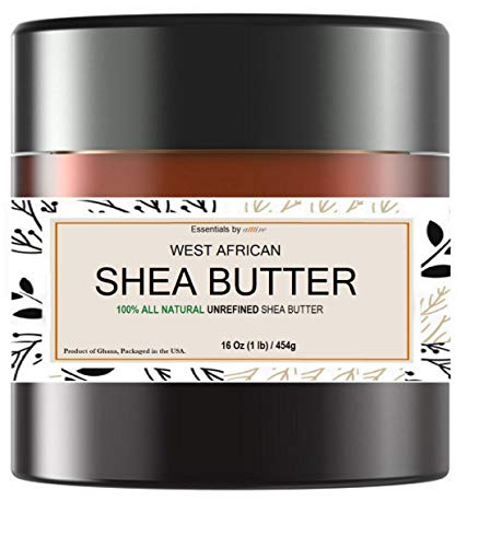 West African Shea Butter  100% Pure, Unrefined, Natural, Organic, Ivory Color   Shea butter for Face, Hair & Body   Moisturizes and Nourishes skin   Essentials by atttire (16 Ounces)