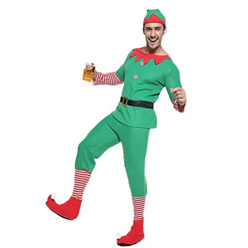 DHRGFWG Kerst Cosplay Jurk Heren Kostuum Volwassen Jaar Carnaval Party Outfit Top Broek Hoed