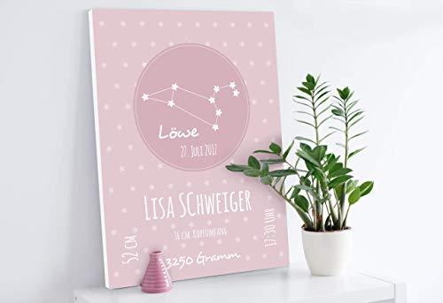 Geburtsanzeige in rosa oder blau Personalisiert nach Ihren Wünschen mit individuellem Sternbild und Sternzeichen Druck als Poster oder Leinwand Ein tolles Geschenk zur Geburt oder Taufe des Babys !