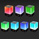 Luz Nocturna con Altavoz Bluetooth 5 en 1, luz Nocturna GGHKDD con Calendario Digital, Reloj Despertador, Control táctil, Soporte de batería de 1200 mAh, Tarjeta TF SD, niños