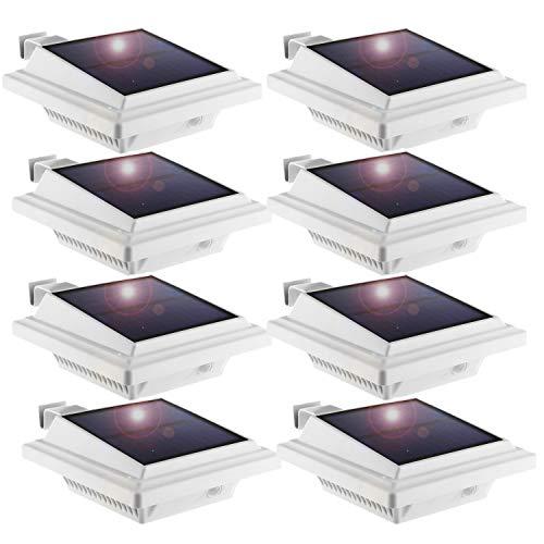 Solar Dachrinnenleuchte, KEENZO Solarlampen für Außen, 25LEDs Solarlicht, Auto ON/OFF, Weiß, Warmes Weiß Licht (8 Stück)