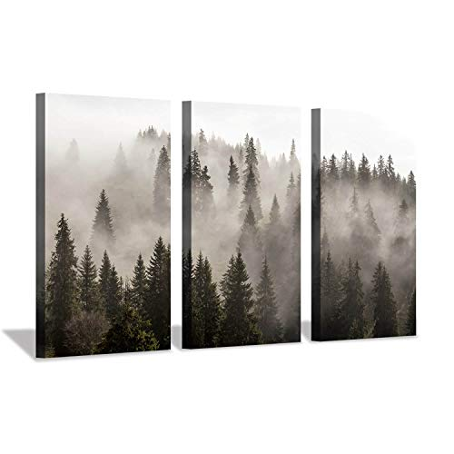 Hardy Gallery Foggy Forest Picture Wall Art: Landscape Painting Misty Pine Trees Artwork Print on Canvas for Living Rooms Office (34'x20'x3pcs)