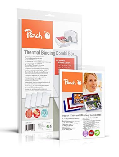 Peach PBT100-14A Combi Box für 20 Thermobindemappen, 15-60 Blatt, A4, weiß inkl. Foto Album Combi Box für 15 Fotoalben (je 14-30 Fotos 10x15cm, weiss) - R-PBT406-06, PBT100-14 und R-PBT406-06