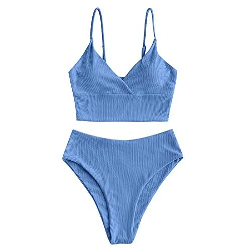 Bañadores Mujer Color Liso Push Up Bikinis Elegante de Dos Piezas Tops y Bragas Cintura Alta Traje de Baño con Relleno para Mujer Conjunto de Ropa de Baño para Vacaciones de Verano,Buceo,Natación