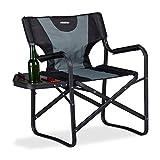 Relaxdays Chaise de régie Chaise de Camping Pliante Fauteuil de pêche Porte-Boissons Table, Noir Gris