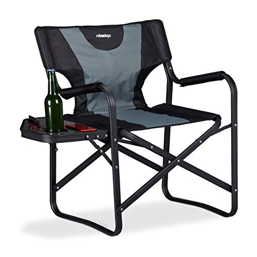 Relaxdays Regiestoel met tafel, inklapbare campingstoel voor tuin, festival & vissen, met bekerhouder, zwart-grijs