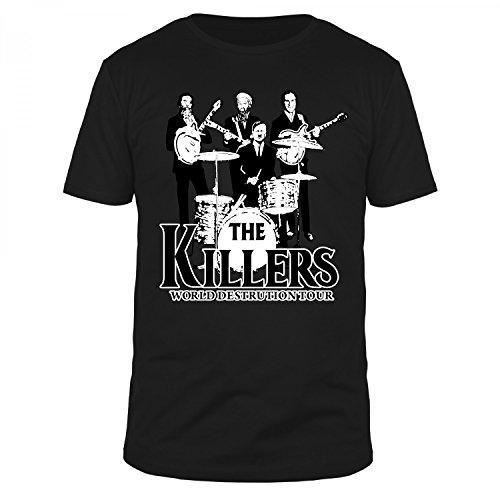 FABTEE - The Killers - World Destruction Tour Fun Organic T-Shirt Herren, Größen S-4XL, Größe:L, Farbe:Schwarz