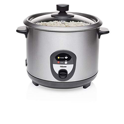 Tristar Reiskocher, 1,5L, Reis für bis zu 10 Personen ohne Anbrennen, Mit Warmhaltefunktion, 500W, Schwarz, Edelstahl, RK-6127