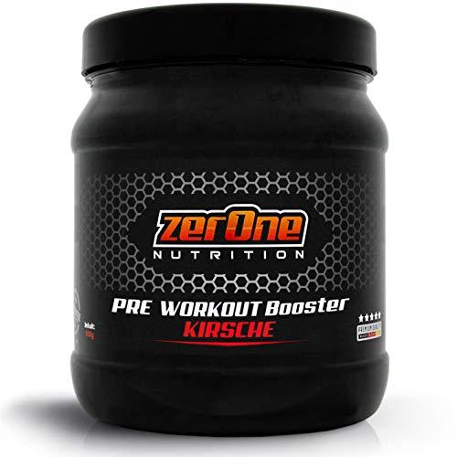 ZerOne Pre Workout Booster Fitness | Maximaler Pump Fokus | Leucin | Isoleucin | Valin 2:1:1 | Energie Kraft Ausdauer | L-Citrullin Maca | Koffein Guarana | Taurin | Kirsche 500g