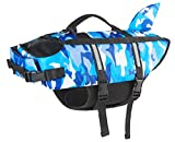 Small Dog Life Jacket for Dogs Blue Ripstop XS Camo Dog Life Vest with Rescue Handle Shark Fin Pet Floatation Vest Saver for Swimming, Boating