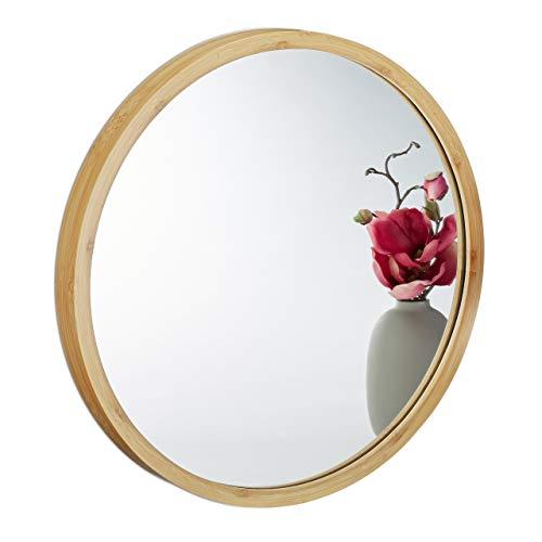 Relaxdays Wandspiegel rund, Spiegel zum Aufhängen, Badspiegel mit Holzrahmen, Flurspiegel aus Bambus, Ø 45 cm, Natur