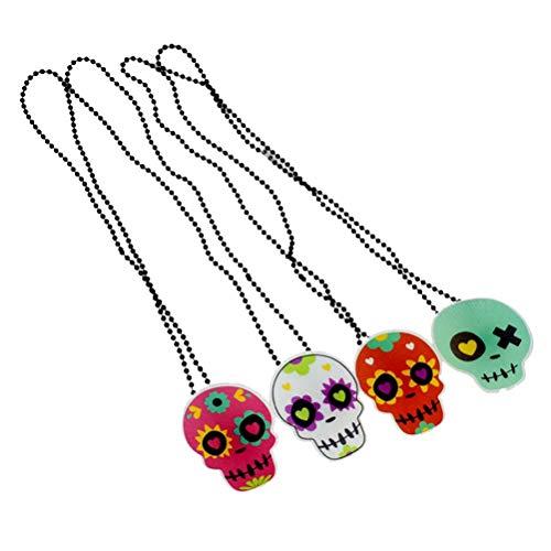 Amosfun Collar de Halloween con diseo de calavera con luces LED y colgante de cabeza de crneo para Halloween, disfraz de fiesta de cosplay, accesorios luminosos