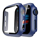TAURI 2 Pack Funda Apple Watch 40mm Protector de Pantalla de Cristal Templado Incorporado Apple Watch 40mm Series 6 5 4 SE - Estuche Protector General para PC Duro HD Ultra-iWatch 40mm - Azul