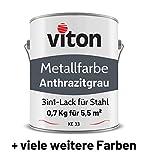 VITON Metallfarbe in Anthrazit - 0,7 Kg Metall-Schutzlack Glänzend - Dauerhafter Schutz & hohe Beständigkeit - 2in1 Grundierung & Deckfarbe - Metalllack direkt auf Rost - KE33 - RAL 7016 Anthrazitgrau