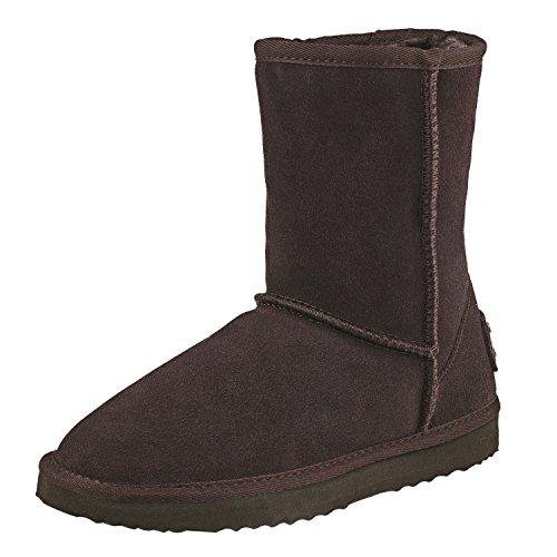 Botas de invierno de piel de media caña para mujer de Shenduo, base forrada cálida DA5825, color Marrón, talla 36 EU