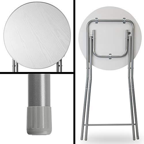 Casaria Set de 2 mesas Altas Plegables Blancas 60x110 cm Juego de mesas para Eventos Exterior Interior Antideslizante ✅
