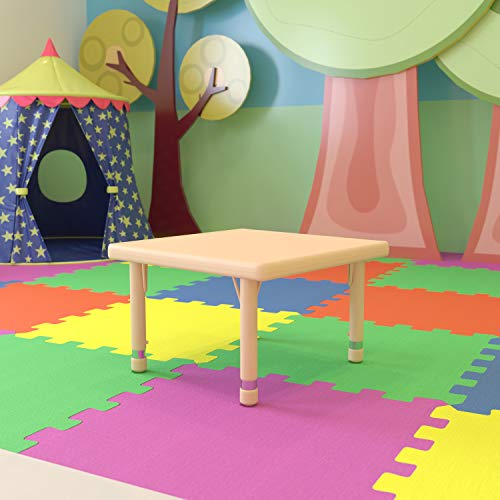 Flash Furniture 24  Square Natural Plastic Height Adjustable Activity Table