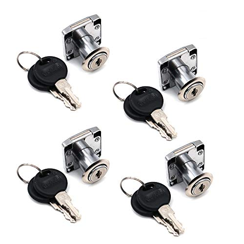 4er-Set NUZAMAS Schrank- & Schubladenschlösser mit 2 Schlüsseln, Möbelschließzylinder, Zinklegierung, Schloss für Türschrank, Schubladenbriefkasten (22 mm)