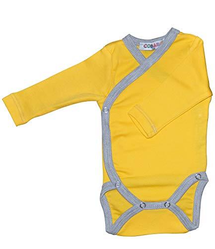 Princess Taufkleid Langarm-Baby Wickelbodys gelb/grau Grösse 56 100% Baumwolle mit Druckknöpfen