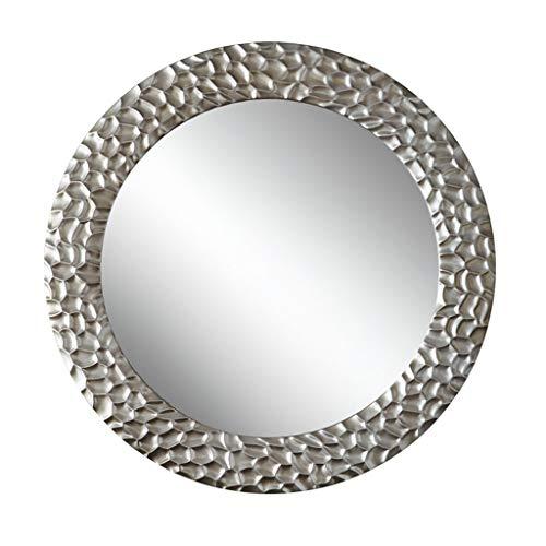Miroirs Miroir De Chambre À Coucher Miroir Décoratif De Salon Miroir Mural Miroir Mural Miroir De Fond Rond Miroir Suspendu Miroir De Salle De Bain Argent (Color : Silver, Size : 70cm/27.5inches)